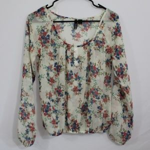 Floral sheer blouse full tilt sz small